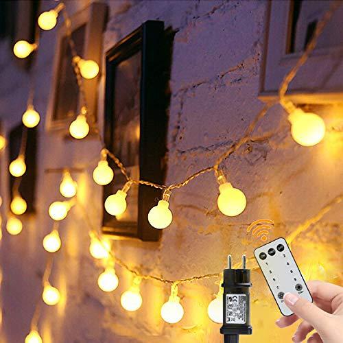Lichterkette Kugeln 15m 100er LED Lichterketten Einstecken 8 Modus mit Fernbedienung und Timer Wasserdicht Beleuchtung für Außen und Innen Zimmer, Party, Weihnachten Decor