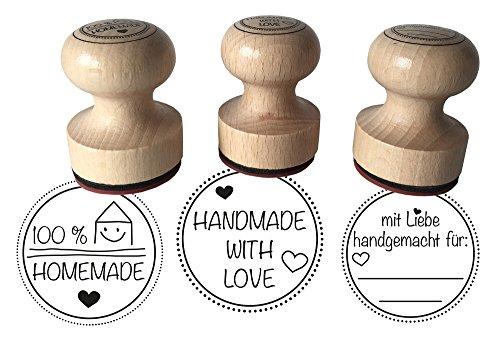 Stempel 3er Set'Mit Liebe handgemacht, 100% Homemade und Handmade with Love, 3 cm Durchmesser, Holzstempel