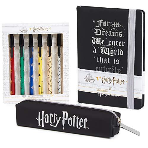 Harry Potter Notizbuch, Magischer Tagebuch A5 für Kinder und Jugendliche, Schreibwaren Set mit Stiftebox und Stifte, Harry Potter Fanartikel Geschenke