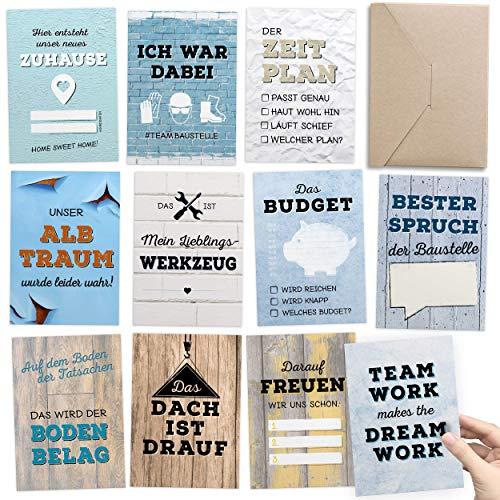 Geschenk für Bauherr & Bauherrin - 30+1 Meilensteinkarten Hausbau als Bautagebuch für Häuslebauer INKL. Glückwunschkarte & Geschenkbox – kreative Geschenkidee für die Hausbauer Baustelle