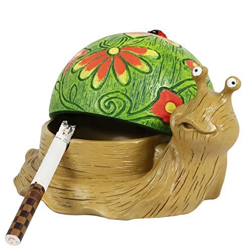 SEA or STAR Schnecke Aschenbecher für Zigaretten Outdoor Aschenbecher mit Deckel Aschenbecher aus Harz für Haus und Garten