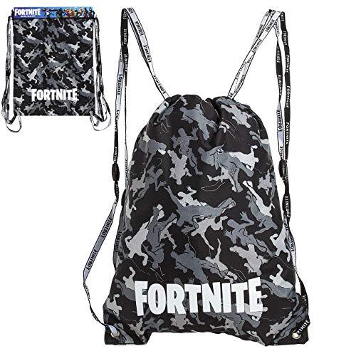 Fortnite Turnbeutel, Camouflage Sporttasche Kinder, Rucksack Mädchen Jungen, Gym Bag, Sporttasche Ki (Schwarz und Grau)