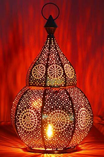 Orientalische Laterne aus Metall Anaram Schwarz 32cm | orientalisches Marokkanisches Windlicht Gartenwindlicht | Marokkanische Metalllaterne für draußen als Gartenlaterne, oder Innen als Tischlaterne