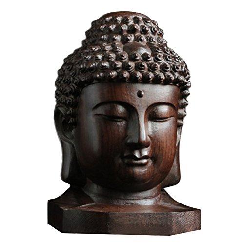 ROSENICE Mini Holz Buddha Feng Shui Figur Buddha Kopf statue Tischdeko Gartenfigur Dekoration