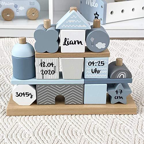 Kidslino Steckspiel Haus blau I Personalisierbares Geschenk zur Geburt Jungen I Handmade Holzspielzeug I Personalisierte Geschenke Baby I Label-Label I Stapelturm mit Name & Geburtsdaten