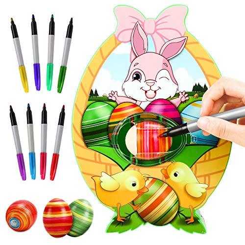 Gifort Osterei Dekorationsset, Osterei dekorieren Maschine mit Spinner, Osterei Decorator kit, inkl. 8 bunten schnelltrocknenden ungiftigen Markern, Geschenk für Kinder Happy Easter Day