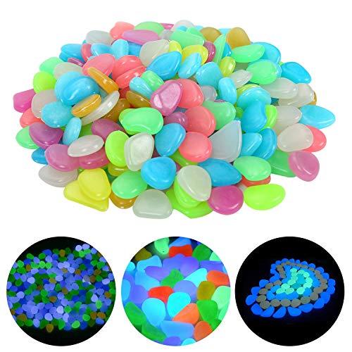 Ulikey 200 Stück Bunt Leuchtsteine Kieselsteine Leuchtende Kieselsteine Leuchtkiesel Floureszierende Pebble Steine für Aquarium Garten Kinderzimmer Dekor (Mischfarbe)