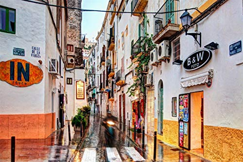 QAZZSF Ölgemälde Nach Zahlen, DIY Handgemalte Ibiza-Stadt, Leinwand Malerei Wohnzimmer Wand Kunst Home Decor Geschenk 40X50CM