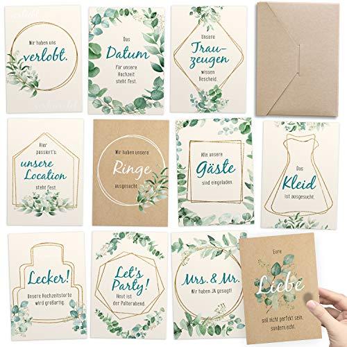 Geschenk zur Verlobung: Meilensteinkarten von Verlobung bis zur Hochzeit – kreatives Geschenk für besondere Erinnerungen und kleiner Hochzeitsplaner für die Vorbereitung (30 Karten DIN A6, deutsch)