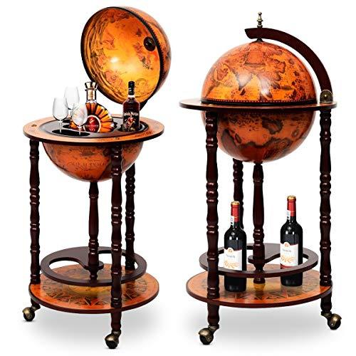 DREAMADE Globus Bar Barwagen, Minibar Globus Hausbar, Servierwagen mit antikem Design, Weinregal auf Rollen, Tischbar Cocktailbar Barschrank Globus (Braun)
