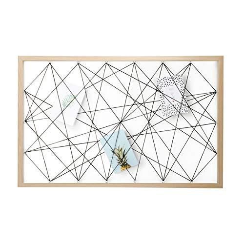 Dresz Fototafel mit Gummibändern - Bilderrahmen Collagen Wood - Wanddekoration Organizer - Foto Panel aus Holz mit 3 Trendy Karten - Fotohalter 50x78cm