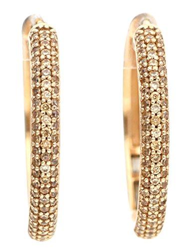 Esprit Damen-Creolen 925 Sterling Silber Zirkonia DELIA beige ELCO91896C000