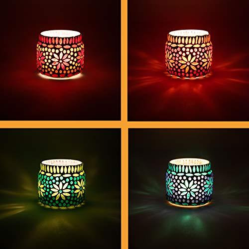 4er Set Orientalisches Mosaik Windlicht Ajub 7cm groß Bunt | Orientalische Glas Teelichthalter orientalisch | Marokkanische Windlichter aus Glas als Dekoration | 4 Stück
