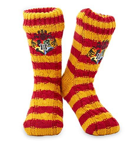 Harry Potter Winter Socken - 1 Paar Kuschelsocken Flauschige - Damen Mädchen Herren Hausschuhsocken mit Rutschfester ABS Sohle und Flauschigem Sherpa-Futter Warm Kuschelig Thermosocken - Größe 36-41
