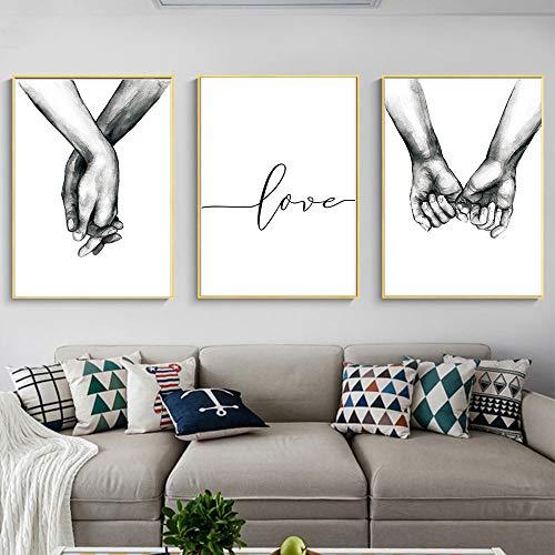 Nicole Knupfer 3-teiliges Premium Poster-Set, Hand in Hand,Wandposter Posterset,Ohne Rahmen,Wand Deko Bild,Wohnzimmer Schlafzimmer Modern Fine Art (40x50cm)