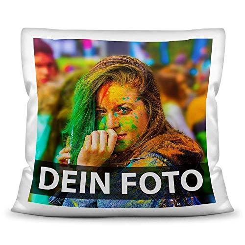 Tassendruck Foto-Kissen Selbst gestalten (40 x 40 cm) - mit Foto individuell Bedruckt/aus 100% Polyester/Personalisierte Geschenk-Idee/Kopf-Kissen inkl. Füllung