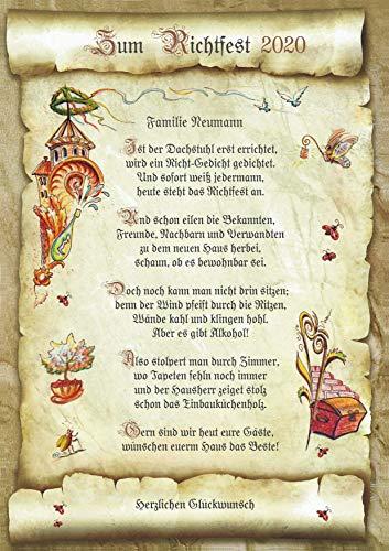 Die Staffelei Geschenk-Urkunde zum Richtfest, Zeichnung mit humorvollem Gedicht-Hauseinweihung A4 Bild-Präsent zum Jubiläum, persönlich durch Wunschtext-inlusive!