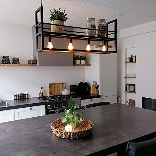 QAZQA - Modern Industrie | Vintage | Hängelampe | Pendellampe | Pendelleuchte | Esstisch | Esszimmer schwarz mit Rack 4-flammig-Licht - Cage Rack | Wohnzimmer | Küche - Stahl Länglich - LED geeignet E