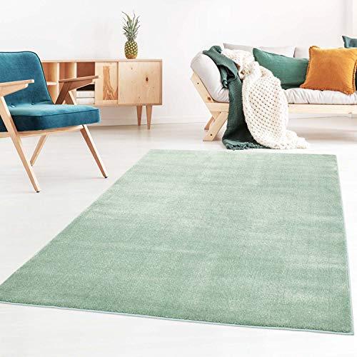 Taracarpet Kurzflor-Designer Uni Teppich extra weich fürs Wohnzimmer, Schlafzimmer, Esszimmer oder Kinderzimmer Gala Mint grün 140x200 cm