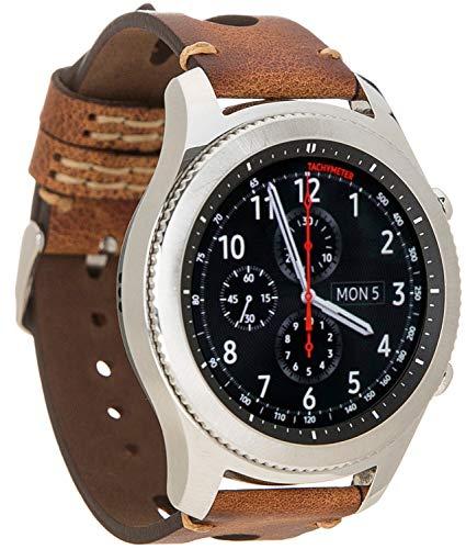 Burkley Armband geeignet für Samsung Galaxy Watch 46mm / Gear S3 Frontier/Gear S3 Classic Echtleder Vintage Uhrenarmband 22mm kompatibel mit LG, Huawei, Xiaomi - Handmade (Sattelbraun / BA2)