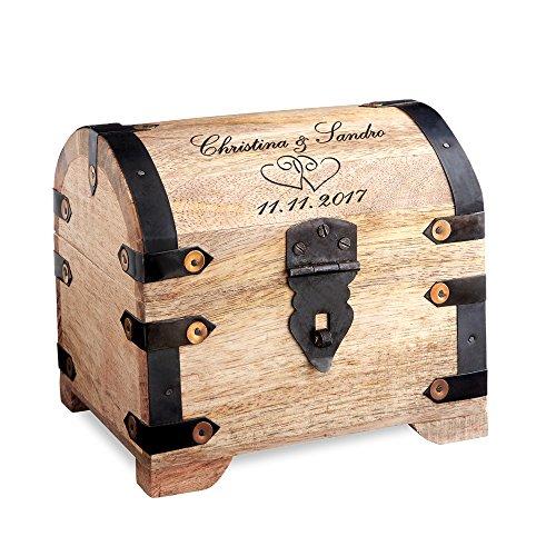 Casa Vivente Schatztruhe aus hellem Holz mit Gravur zur Hochzeit, Motiv Herzen, Personalisiert mit Namen und Datum, Verpackung für Geldgeschenke