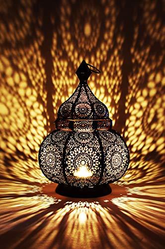 Orientalische Laterne aus Metall Ziva Schwarz 30cm | orientalisches Marokkanisches Windlicht Gartenwindlicht | Marokkanische Metalllaterne für draußen als Gartenlaterne, oder Innen als Tischlaterne