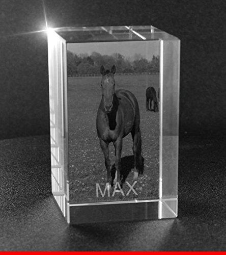 VIP-LASER 2D GRAVUR Glas Kristall Quader im Hochformat L mit dem Foto von Deinem Pferd. Dein Wunschfoto für die Ewigkeit mitten in Glas! Groesse L = 60x40x40mm