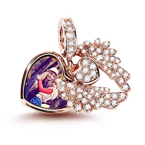 GNOCE Personalisiert Foto Charm Damen Bead Anhänger 925 Sterling Silber Mit Zirkonia 18K Rose Gold Gravierbare Perlen Charms für Armbänder Halsketten (Stil-3)