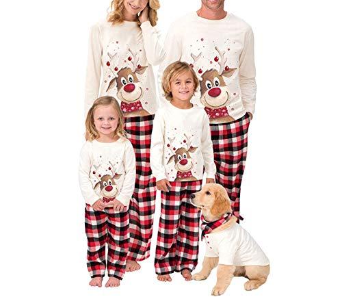 Weihnachten Familien Schlafanzug Damen Herren Kinder Weihnachtspyjamas Set Lange Schlafanzüge Lustig Nachthemd Top Plaid Hosen Familys Sleepwear Homewear Pyjamas Outfits (Weiß Damen, L)