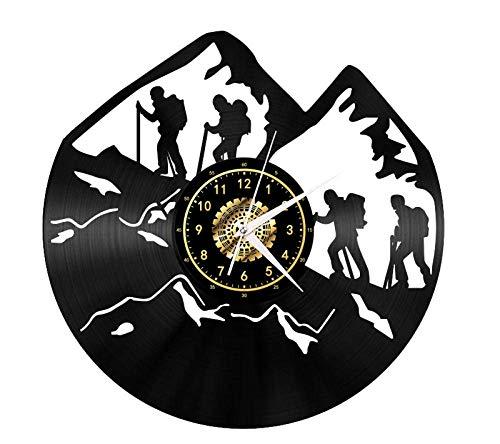 JFGX Vinyl Wanduhr - Bergsteigen - Retro Atmosphäre Silhouette Rekord Handgemachtes Geschenk Cool Home Art Dekor Kein LED-Licht 12 Zoll