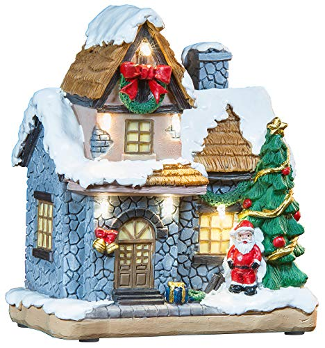 infactory Weihnachtsdorf Deko: Deko-Weihnachtshaus mit Santa Claus, LED-Beleuchtung, Batteriebetrieb (Weihnachtsdorf beleuchtet)