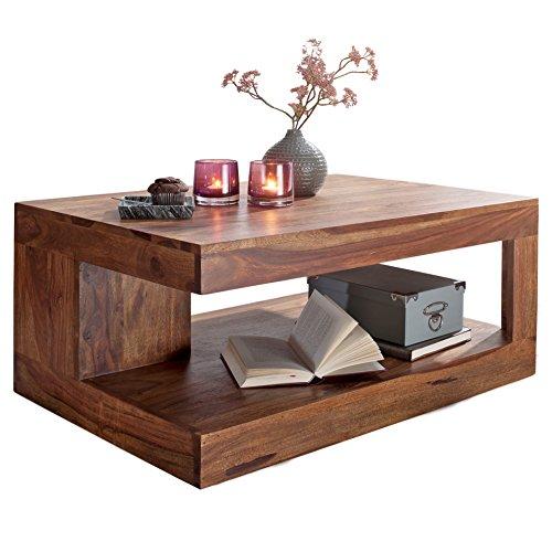 FineBuy Couchtisch Massiv-Holz Sheesham 90 cm breit Wohnzimmer-Tisch Design dunkel-braun Landhaus-Stil Beistelltisch Natur-Produkt Wohnzimmermöbel Unikat modern Massivholzmöbel Echtholz rechteckig