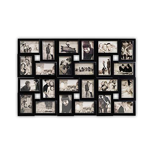 DRULINE Bilderrahmen für 24 Fotos, Fotorahmen, Fotocollage Fotovorhang XXL Bildervorhang RPF20BK Milchig-Photoshop-Optik New Lifestyle Kunststoffrahmen Bildergalerie/Bilderwand   86 x 57 cm   Schwarz