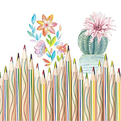 Regenbogen Buntstift - Reastar 30 Stücke Zeichnung Bleistift 4 in 1 Regenbogenfarben Buntstift Zauberstift Farbstift - für Kunst Zeichnung, Färbung und Skizzieren