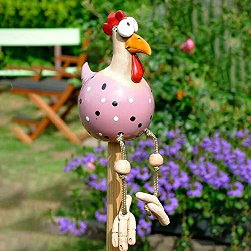 Gartendeko Huhn Gartenstecker, Rasen Gartendeko Chicken Yard Art Garten Huhn Deko, Outdoor Hühner Deko Garten Statuen Henne Gartenfigur Gartendekoration Indoor(Rose)