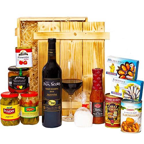 Geschenkset Sevilla   Großer spanischer Geschenkkorb gefüllt mit Wein, Tapas und Feinkost Spezialitäten   Spanien Präsentkorb mit Delikatessen für Frauen & Männer
