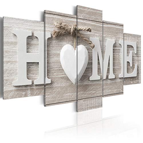 decomonkey Bilder Home Haus 200x100 cm XXL 5 Teilig Leinwandbilder Bild auf Leinwand Wandbild Kunstdruck Wanddeko Wand Wohnzimmer Wanddekoration Deko Herz beige