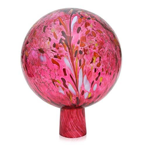 Lauschaer Glas Gartenkugel Rosenkugel aus Glas mit Granulat rubinrot d 15cm mundgeblasen handgeformt