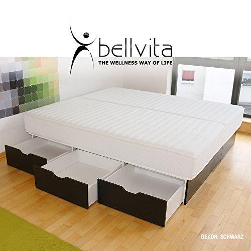 bellvita Wasserbetten SCHUBLADENSOCKEL inkl. Lieferung und AUFBAUSERVICE durch Fachpersonal, 200 cm x 200 cm (schwarz)