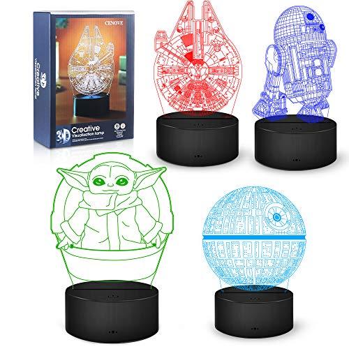 Star Wars Geschenke Nachtlicht, 16 Farbwechsel 3D Dekor Lampe mit Fernbedienung, Perfekte Spielzeug Geschenke für Star Wars Fans/Kinder/Männer