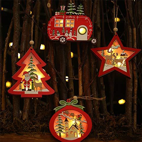 Queta 4 Stück LED Weihnachtsanhänger Holz Weihnachtsbaumschmuck Christbaumschmuck Anhänger Holz Weihnachtsbaum Deko Weihnachtsdeko zum Aufhängen