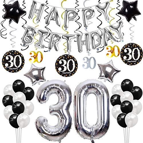 SANCUANYI 30 Geburtstag Dekoration, Happy Birthday Party Ballons Banner für Mädchen und Jungen