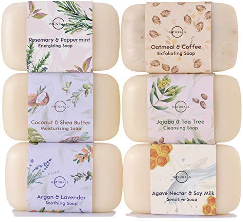 O Naturals 6 Stück festes duschgel naturkosmetic dusch seife vegan feuchtigkeitsspendende Body Wash Soap Bar Set mit therapeutischen ätherischen Ölen. Gesicht Körper & Hände. Männer und Frauen 678g