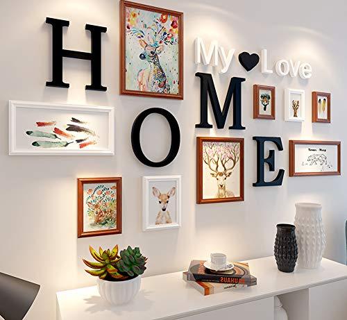 MUZIDP Massivholz Fotowand,Kreativ Foto-Rahmen-Wand Bild Rahmen Collage Für Wohnzimmer Restaurant Hintergrundwand-D