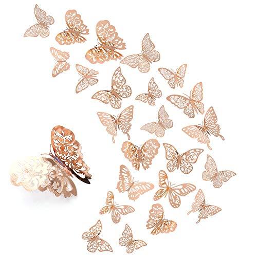 Veraing 84 Stück 3D Schmetterling Wandaufkleber, Roségold Schmetterlinge Wanddeko Abziehbilder DIY Wandkunst für Zuhause Schlafzimmer Baby Room Kinderzimmer Decor
