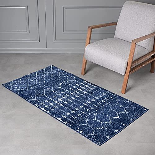 Wayshine Kurzflor Vintage Teppich für Wohnzimmer, Schlafzimmer, Küche, Flur Größe: 80x150 cm Orientalisch Teppichläufer (Royalblau)