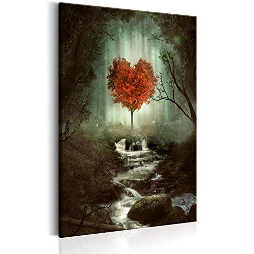 murando - Bilder Baum Herz 60x90 cm Vlies Leinwandbild 1 TLG Kunstdruck modern Wandbilder XXL Wanddekoration Design Wand Bild - Wald Nebel Wasserfall c-B-0268-b-a
