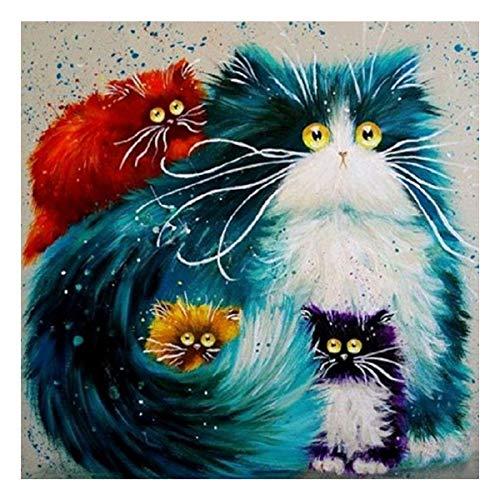 5D-Diamant-Set, Motiv: lustig gestaltete Katzenfamilie, Strassbild zum Selbermachen, Kreuzstichstickerei, Kunst nach Zahlen, Wanddekoration, 30 x 30 cm