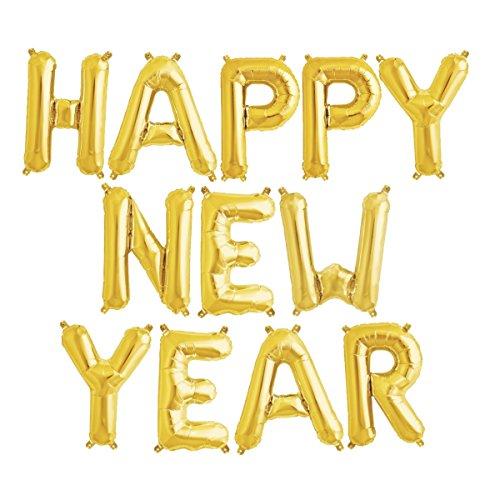 ballonfritz Luftballon Happy New Year -Schriftzug in Gold - XXL Folienballon als Silvester Deko, Begrüßung, Neujahr Party Geschenk, Fotorequisite oder Empfang-Überraschung