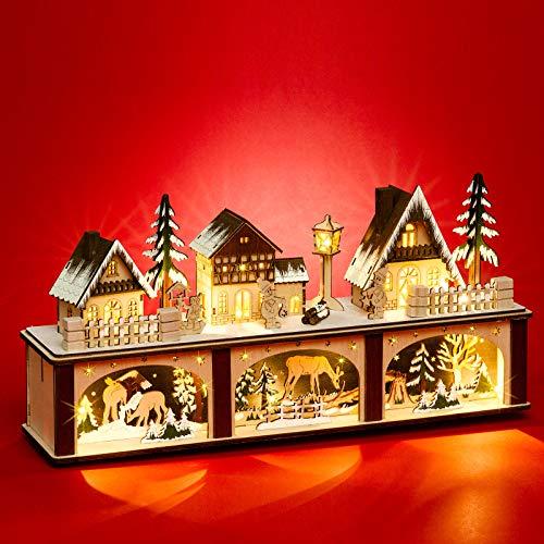 Sikora LB87 beleuchteter Holz LED Lichtersockel Schwibbogen